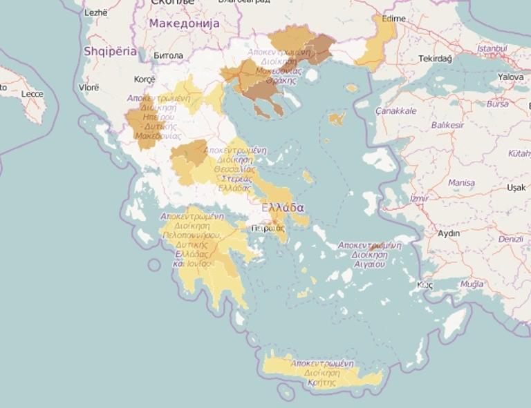 Βρείτε την περιοχή σας και ελέγξτε τις μετρήσεις για τα γενικά επίπεδα Ραδονίου - στον online χάρτης με τα επίπεδα ραδονίου στην Ελλάδα